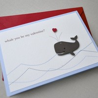 Valentines day card whale by imeondesign on Etsy