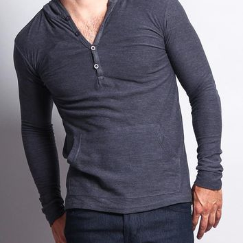 Long Sleeve Hooded Henley Shirt RK - E14C
