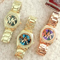 Michael Kors MK Popular Unisex Colorful Dial Quartz Watch Diamond Movement Wristwatch Watch(3-Color) I-Fushida-8899