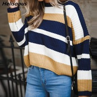 Helisopus Women Striped Loose Sweaters Autumn Winter Harajuku Korean Style Knitted Sweater Pull Femme Pullovers Jumper