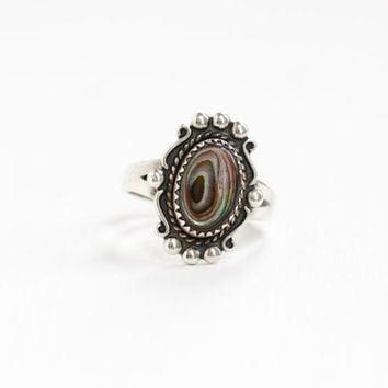 Vintage Sterling Silver Colorful Abalone Ring - Size 8 Retro Southwestern Native American Style Jewelry Hallmarked Bell Trading Co.