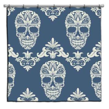 Decorative Sugar Skull Shower Curtain in Periwinkle Blue from Extremely Stoked