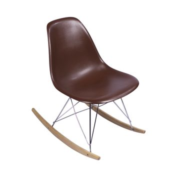 Eames-Style Side Chair, Brown with Rocker Legs