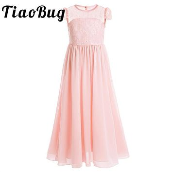 TiaoBug Embroidered Kids Girls Flower Dress Pageant Party Ball Gown Prom Princess Formal Occassion Dress for Wedding Bridesmaid