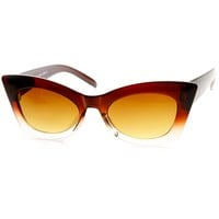 Womens Fashion High Pointed Bold Frame Cateye Sunglasses