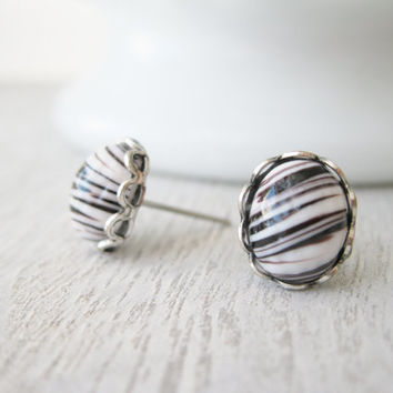 Zebra Stud Earrings, Vintage Glass Cabochons, Milk glass earrings, Black and White Studs, Retro Jewellery, Summer Jewellery, Antique Silver