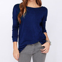 Blue Open-Back Sweater