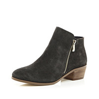 River Island Womens Grey suede zip side ankle boots