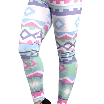 BadAssLeggings Women's Ancient Aztec Leggings Medium White