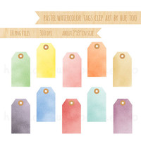 pastel watercolor tags clip art, watercolor hang tags clipart, manila tag digital label, pink turquoise blue yellow instant download - 079