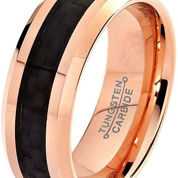 18K Rose Gold Tungsten Wedding Ring Comfort Fit and Bevel Edges Polished With Black Carbon Fiber - 8mm