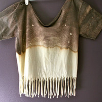 Bleached Fringe Galaxy Top by FashionDose on Etsy