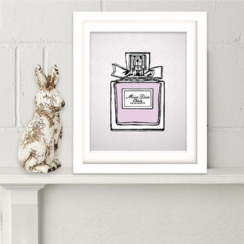Original illustration Perfume bottle art Miss Dior poster Fashion print Teen Girls bedroom decor French perfume wall art Girlfriend gift