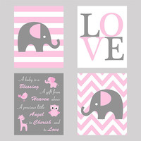 Wall Art, Set of 4, Nursery Wall Prints, Baby Quote, LOVE, Elephant Custom Prints, Pink Gray  Modern Art, Custom Colors, Nursery Decor, 8x10