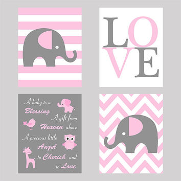 Wall Art Set Of 4 Nursery Prints Baby Quote Love Eleph