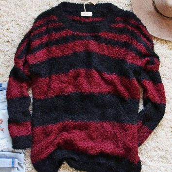 Layla Cozy Stripe Sweater in Wine