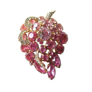 Vintage Weiss Pink Rhinestone Grape Pin - Grape Brooch - 1950s Designer Fashion Jewelry - Signed Costume Jewelry - Vintage Weiss Brooch