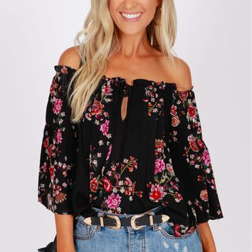 Bow Detail Off The Shoulder Top Black