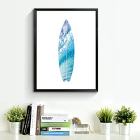 Ocean Waves Art, Surfboard Wall Print, Beach Wall Print, Ocean Wall Art, Ocean Wall Print, Surfboard Wall Art, Turquoise Summer Print *124*