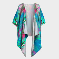Time Travel, Draped Kimono, Chiffon or Silky Knit, add Fringe,  Night Gown, Handmade Sexy Fashion Robe,  evening beach nightie,