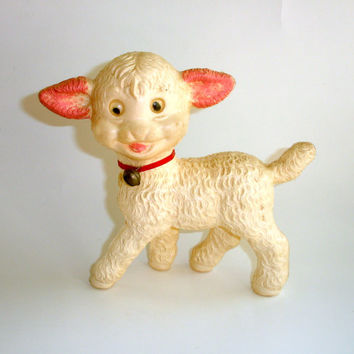 Vintage Lamb, Plastic Lamb Figurine, 1950s Mid Century, Made in Italy, Bell Collar, Googly Eyes, Nursery Decor, Collectible Lamb Toy, Animal