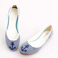 Navy Anchor Stripes Flat Shoes