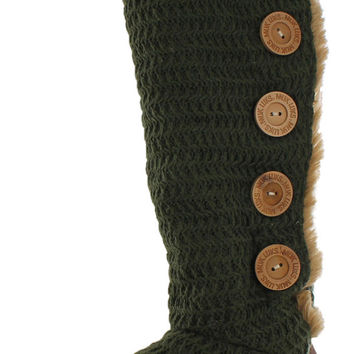 Mukluks Malena Womens Crochet Button Up Knit Sweater Boots