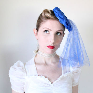 1950's Hat, Vintage, Wedding Veil, Fascinator, Tulle, Blue, Tilt, Mini Hat, Bridal Veil, Pin UP