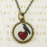 Raven Necklace - Black Bird on Heart Pendant Jewelry