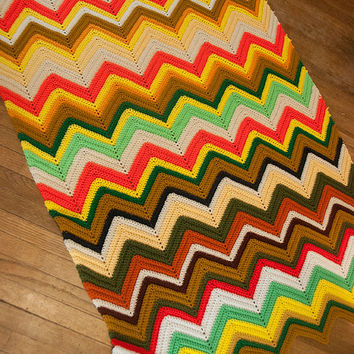 Bright Multicolor Chevron Crochet Blanket | Bohemian 1970s Twin Full Queen Rainbow Throw Bedspread 63 x 44"
