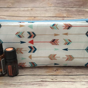 Blue, Coral and Mint Arrow Essential Oil Pouch , Blue Essential Oils Case, Essential Oils Travel Pouch