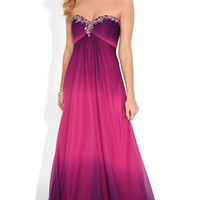 Strapless Long Homecoming Dress with Ombre and Chunky Stone Bodice