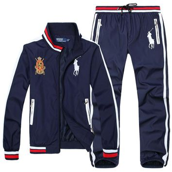Polo Ralph Lauren new men's casual exquisite embroidery trend outdoor sports jacket set two-piece Blue