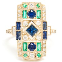 Sabine G 18K White Gold, Emerald And Sapphire Ring