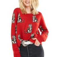 Seeing Cats Dali Sweater   Scarlet