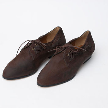 Size 9 Brown Oxfords Shoes laced up flats Dead Stock Vintage