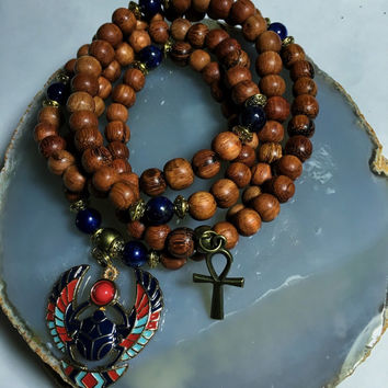 Egyptian Mala Beads | Unisex Lapis Lazuli & Wood 108 Bead Ankh Necklace Scarab | Pharaoh Pyramid  Meditation Yoga Prayer Rosary