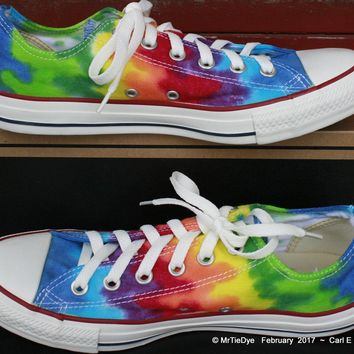 men sz 8 rainbow hand dyed converse sneakers lo top women sz 10