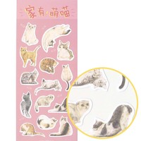 Realistic Kitty Cat Photo Print Flat Stickers for Scrapbook and Decorating