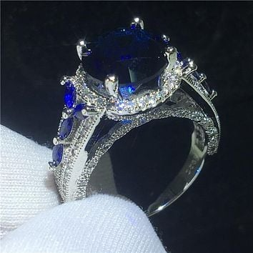 Elegant Flower Engagement Ring Sapphire 5ct Blue  AAAAA Cz Stone 925 Sterling silver Party wedding band ring for women