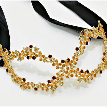 Lyla Flower Cluster Gold Masquerade Mask | Crystal | Gold