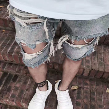 Distressed Denim Shorts Mens 2017 Spray Paint Destroyed Tassel Vintage Bleach Shorts Free Shipping