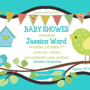DIY Printable Tiffany Blue Baby Shower Invitation with Birds and Birdhouse Blue Lime Green Bunting Can be converted to Sip and See