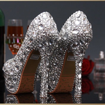 Silver Crstyal Shinny Bridal Heels Platform Stiletto Shoes