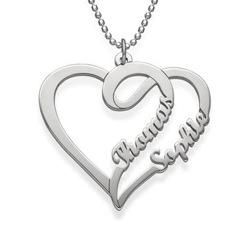 Marvelous Personalized Jewelry 316 Stainless Steel Couple Love Heart Necklace with Custom Name or Word