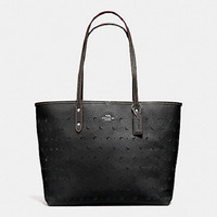 New Authentic Coach F59345 City Tote In Perforated Crossgrain Leather Black