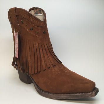 """Dingo Western Fringe Ankle Boots """"DI748"""""""