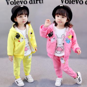 New thick Cotton 3 pieces clothing suit 1-4 years Baby girls clothing set