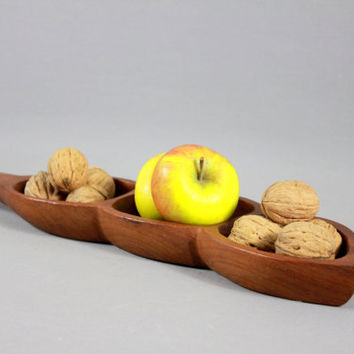 Vintage Mid Century DANISH TEAK Serving Tray Party Platter Dish Denmark Scandinavian 1950s 1960s RETRO