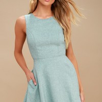 Winsome Mint Blue Backless Skater Dress